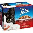 Alimento húmedo para gato selección de carne en gelatina caja 12 unidades bolsa 100 g 12 unidades Purina Felix