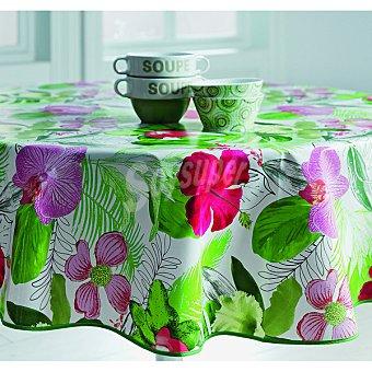 CASACTUAL Brasil 52 mantel redondo plastificado con flores 140 cm