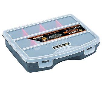 TACTIX Organizador de accesorios de herramientas de 19 centímetros y 8 compartimentos con tapa transparente 1 unidad