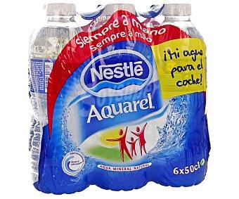 Aquarel Nestlé Agua mineral natural Pack de 6 unidades de 50 centilitros