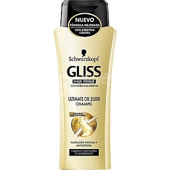 Gliss Schwarzkopf Champú ultimate oil elixir con keratina líquida y elixir de aceite de argán bote 300 ml para cabello castigado o quebradizo Bote 300 ml