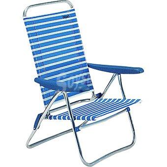 INDUAL Nytexline Silla de playa con varias posiciones en color azul y blanco