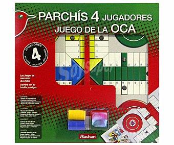 Auchan Tablero de Juego del Parchís y la Oca para 4 Jugadores 1 Unidad