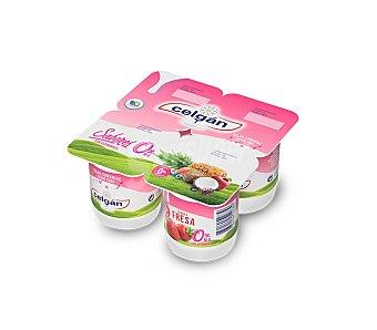 Celgán Yogur desnatado fresa, 0% materia grasa Pack 4x125 grs