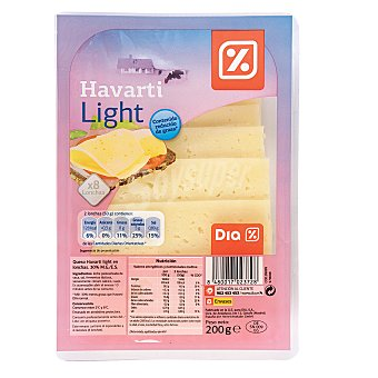 DIA Queso havarti light lonchas Sobre 200 gr