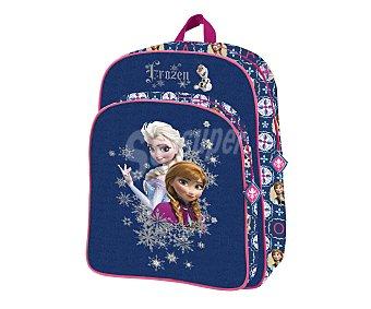 DISNEY Mochila infantil con asas reforzadas, amplio bolsillo frontal con cierre de cremallera e imagen de las princesas de la película Frozen 1 unidad