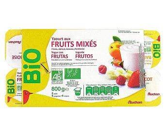 Auchan Yogur ecológico de frutas variadas Pack de 8 uds