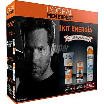 Men Expert L'Oréal Paris Kit Energía con con cuidado hidratante Hydra Energetic dosificador 50 ml + gel limpiador Hydra Energetic tubo 100 ml + regalo espuma de afeitar Sensitive Dosificador 50 ml