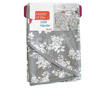 AUCHAN Mantel redondo estampado color gris claro, 100% algodón, 150 centímetros 1 Unidad