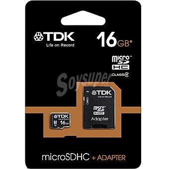TDK Tarjeta de memoria Micro sdhc Clase 4 con adaptador de 16 GB