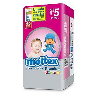 Moltex Pañales premium de 13 a 20 kg talla 5 Bolsa de 46 uds