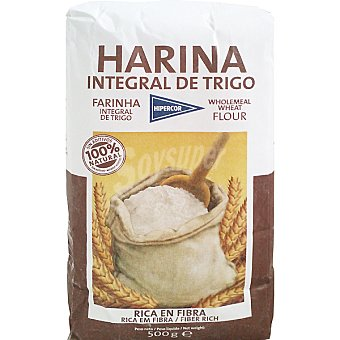 Hipercor harina integral de trigo paquete 500 g