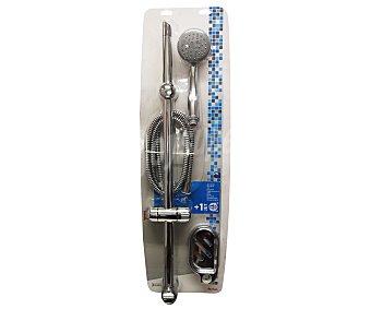 Auchan Conjunto de baño cromado compuesto por barra, manguera flexible reforzada de Pvc de 1,5 metros, mango de 1 posición efecto lluvia y jabonera 1 Unidad