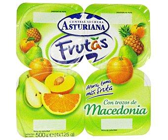 Central Lechera Asturiana Yogur con Trozos Macedonia 4 Unidades de 125 Gramos