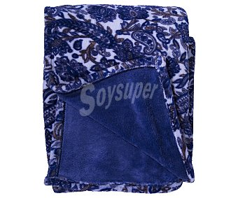 Manta de tejido sedalina 100% poliéster color azul estampado para cama doble 1 unidad
