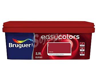 BRUGUER Pintura plástica acrílica decorativa, de color rojo lava, de la serie Easy Colors 4 litros