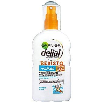 Delial Garnier Locion solar niños hidratante hipoalergénico sin perfume FP-50+ spray 200 ml resistente al agua Resisto Spray 200 ml