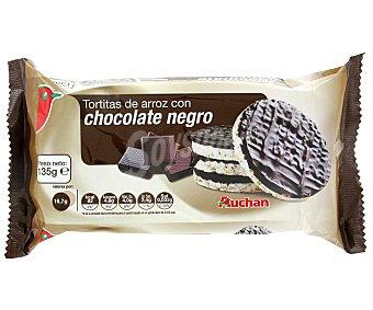 Auchan Tortitas de arroz integral con chocolate negro Pack de 4 unidades de 26,3 gramos