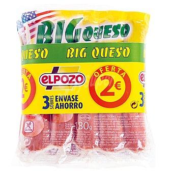 ElPozo Salchichas big queso Envase pack 3x180 grs