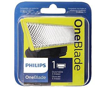 Philips Recambio recortador de barba One Blade QP210/50 cuchilla extraible recorta perfila y afeita Estuche 1 ud