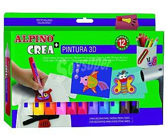 Alpino Pintura en roller para decorar papel, madera, piedra, textiles... y conseguir un efecto 3D en nuestros diseños 12 unidades