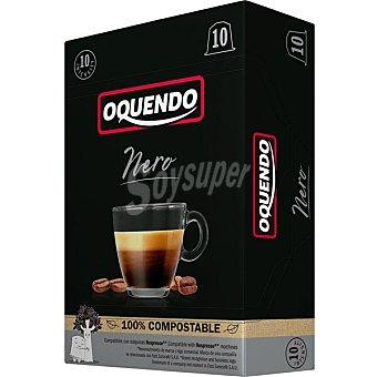 Oquendo Nero café muy intenso intensidad ápsulas 100% compostables y compatibles con máquinas Nespresso 10 estuche 10 c