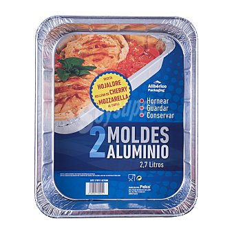 Aliberico Molde desechable aluminio tarta rectangular (bajo) Paquete 2 u