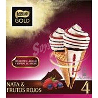 NESTLE GOLD Nata y frutos rojos con espiral de sirope estuche 440 ml 4 unidades