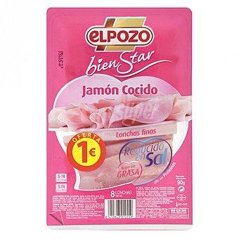 ElPozo Jamón cocido bajo grasa-reducido en sal Bandeja 90 g