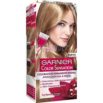 Color Sensation Garnier Tinte rubio nº 7.0 coloración permanente intensa caja 1 unidad pincel gratis Caja 1 unidad