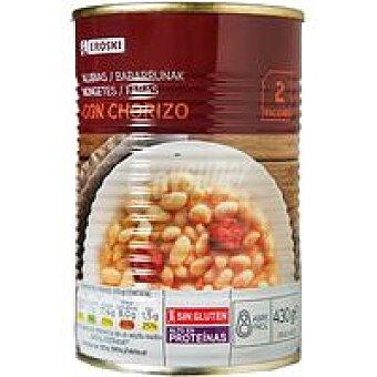 Eroski Alubia cocida con chorizo Lata 430 g