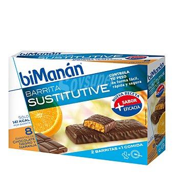 Bimanan Barritas sustitutive chocolate negro y naranja 8 ud