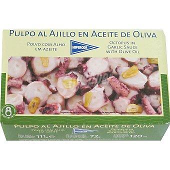 Hipercor Pulpo al ajillo en aceite de oliva Lata 72 g neto escurrido