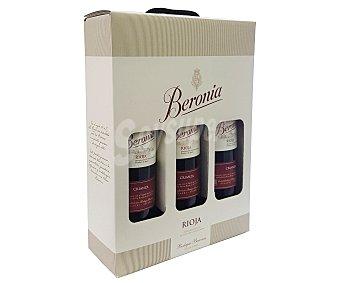 Beronia Estuche de 3 botellas de vino tinto crianza con denominación de origen calificada Rioja beronia, Estuche de 3 botellas