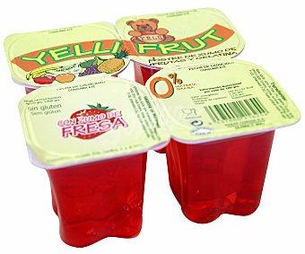 Yelli Fruit Gelatina sabor fresa Pack de 4 unidades de 115 gramos