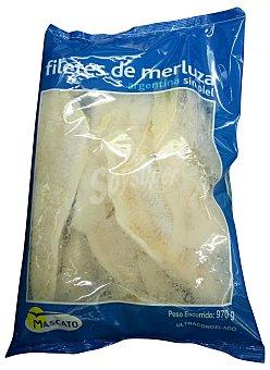 MASCATO MERLUZA CONGELADA ARGENTINA FILETE SIN PIEL ***TAMAÑO AHORRO*** PAQUETE 970 g PESO NETO ESCURRIDO