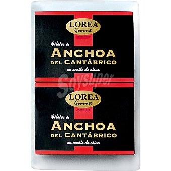 Lorea Filetes de anchoa del Cantábrico en aceite de oliva neto escurrido Pack 2 lata 53 g