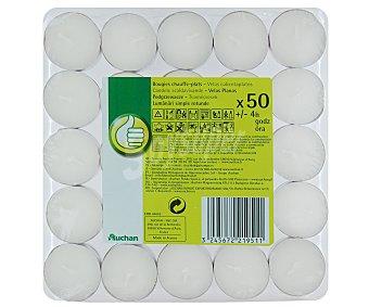 PRODUCTO ECONÓMICO ALCAMPO Velas calientaplatos o tealigths de color blanco 50 Unidades