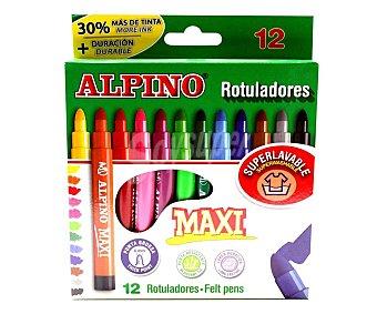 Alpino 12 rotuladores punta y cuerpo gruesos, grosor 6mm, varios colores alpino