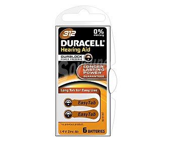 Duracell Pilas especiales para audífonos modelo 312, con sistema de apertura fácil y una lengüeta especial que facilita la sustitución de la pila 6 unidades