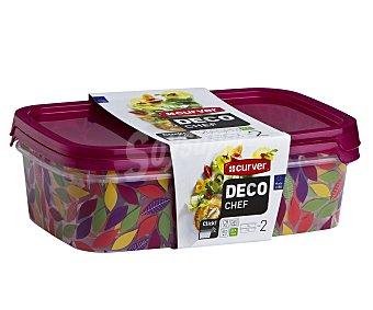 Curver Set de 2 herméticos rectangulares de plástico con diseño Flores y tapa hermética, 1 litro de capacidad, serie Flores Deco Chef Pack de 2 unidades