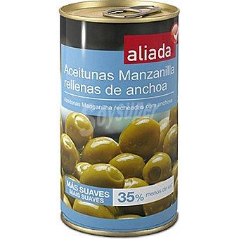 Aliada Aceitunas rellenas de anchoa 35% menos sal Lata 150 g neto escurrido