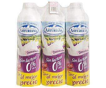 CENTRAL LECHERA Leche sin lactosa desnatada 0% materia grasa Pack de 6 botellas de 1 litro