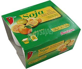 Auchan Yogur de soja con frutas amarillas 4 unidades de 100 gramos