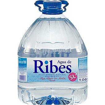 Aigua de Ribes Agua mineral natural de mineralización débil Garrafa 5 l