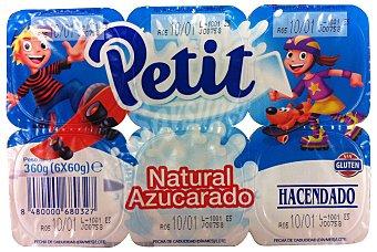 Hacendado Petit natural azucarado Pack 6 x 60 g - 360 g