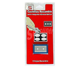 TECNHOGAR Cuchillas de recambio para rasquetas de vitrocerámica Pack de 5 Unidades