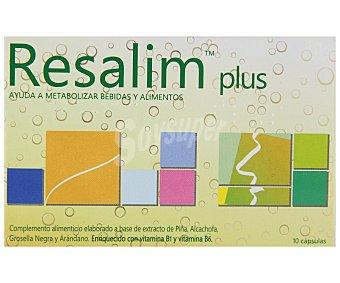 RESALIM Complemento alimenticio a base de extractos de piña, alcachofa, grosella negra y arándano que ayuda a metabolizar bebidas y alimentos 10 cápsulas