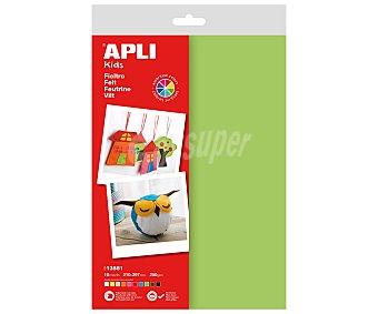 APLI Hojas de fieltro tamaño A4 y 250 gramos, de colores surtidos 10 unidades