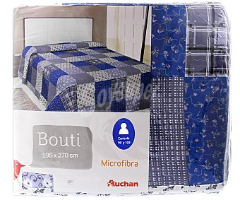 Auchan Boutí infantil con estampado Patchwork tonos azules, 195x270 centímetros 1 unidad